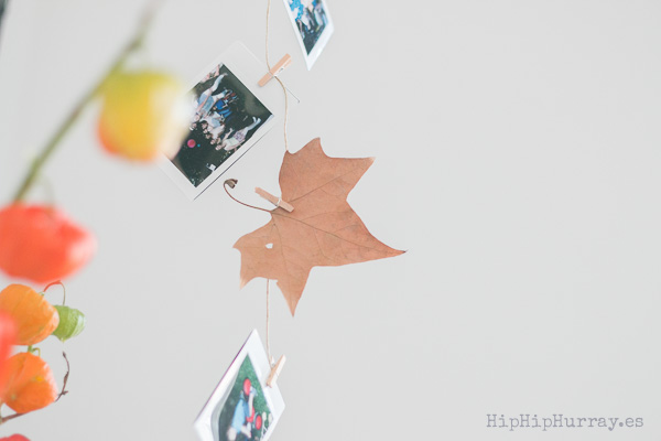 A Polaroid and Leaves string for an autumnal decoration by Hip Hip Hurray