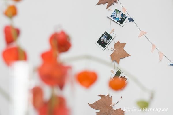 A nice way to bring an autumnal touch to your home decoration: polaroids photos and leaves on a string / by Hip Hip Hurray
